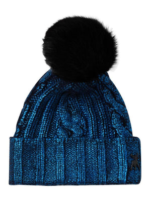 Blue cashmere bobble hat