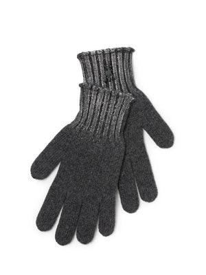 Metallic Print Cashmere Gloves - Silver