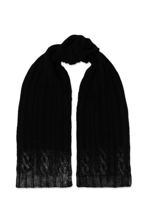 Metallic Print Scarf  - Black