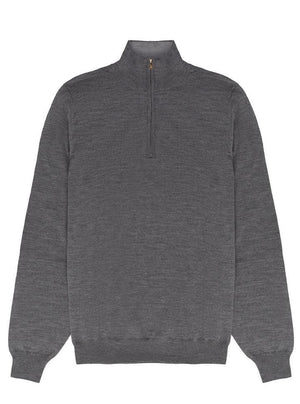 Merino Classic Zip-up Jumper - Grey
