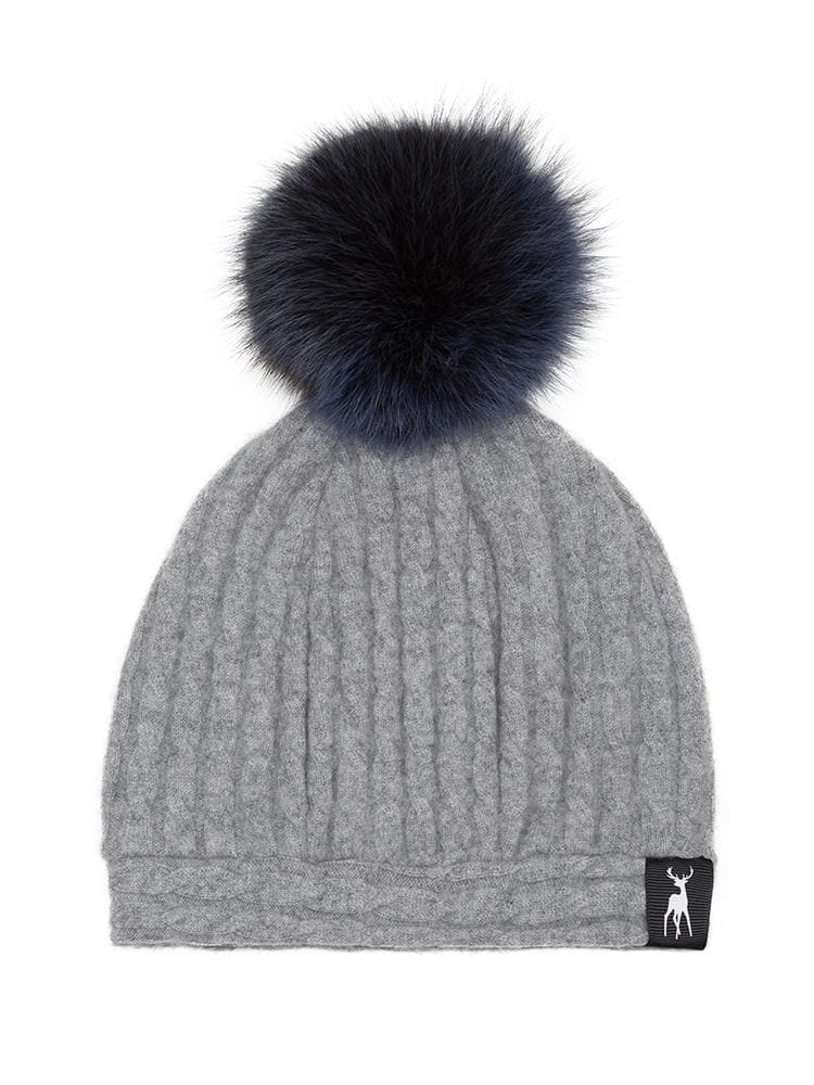 029ef661694 ... Slouchy Beanie in cable cashmere - Grey navy. fur hats