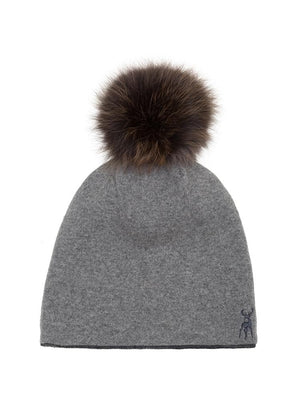 Reversible Beanie in Cashmere - Grey/charcoal - TALLIS