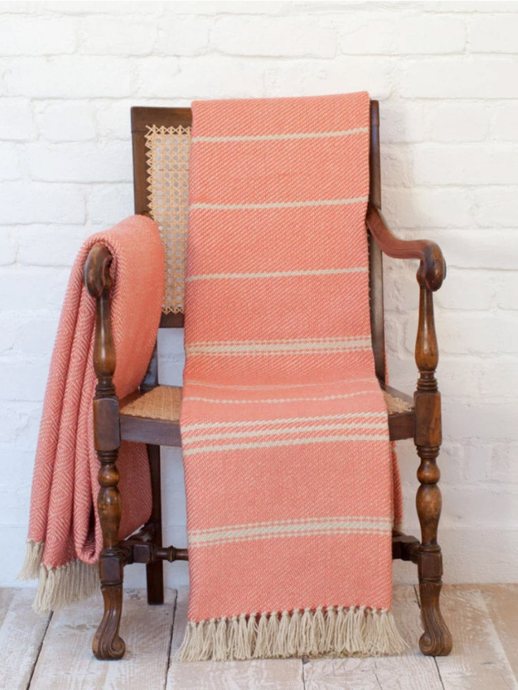 Weaver Green Blanket - Coral Oxford Stripe