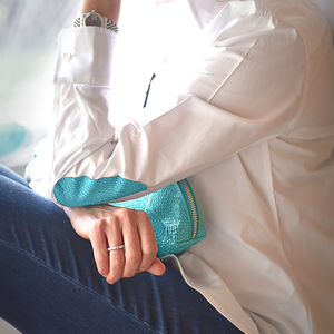 White Shirt Turquoise elbow patches