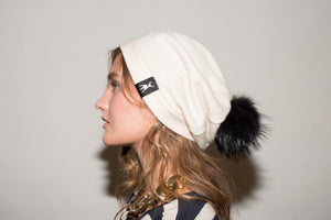 Slouchy Beanie in woven cashmere - Black shearling
