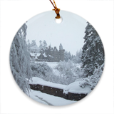 Dunans in Snow Porcelain Ornaments