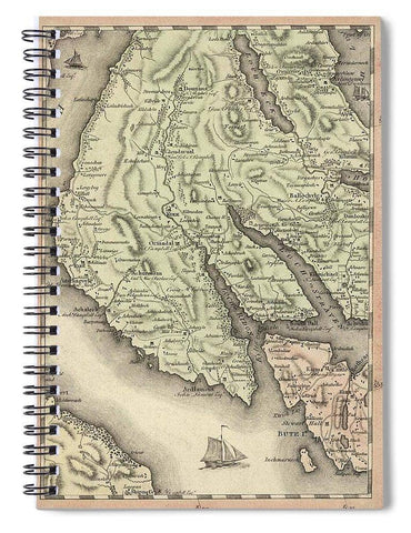 Antique Dounans Map - Spiral Notebook