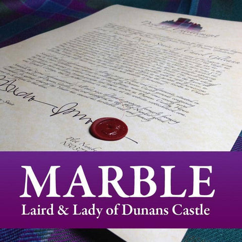 Decorative Title: Laird & Lady of Dunans Castle - Scottish Laird