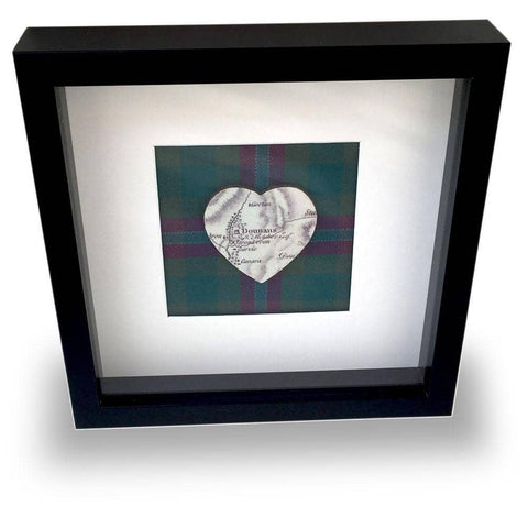 Dunans at Heart: Framed Decoupage Heart - Scottish Laird