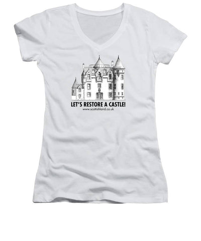 Let's Restore A Castle - Women's V-Neck - Scottish Laird