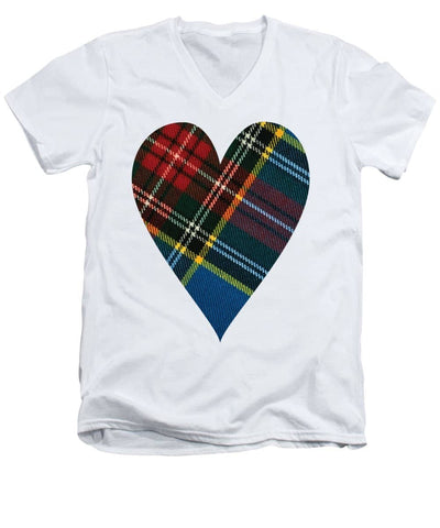 Macbeth Modern Tartan Heart - Men's V-Neck T-Shirt