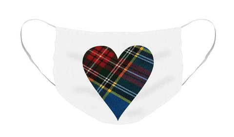 Macbeth Modern Tartan Heart - Face Mask