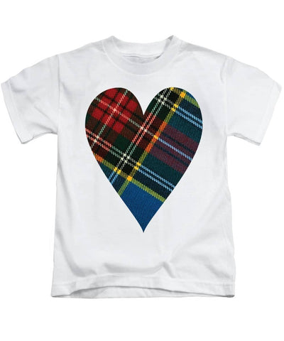 Macbeth Modern Tartan Heart - Kids T-Shirt