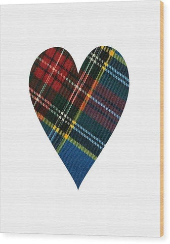 Macbeth Modern Tartan Heart - Wood Print