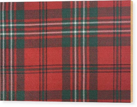 Scott Red Modern Tartan - Wood Print