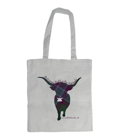 Shoulder Tote Bag Highland Coo in Dunans Rising Tartan - Scottish Laird
