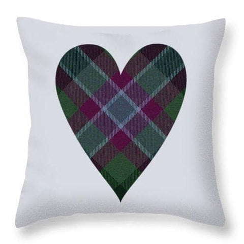 Dunans Rising Tartan Heart - Throw Pillow
