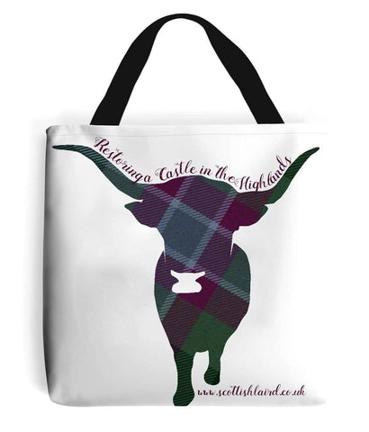 Tote Bag Highland Coo in Dunans Rising Tartan - Scottish Laird
