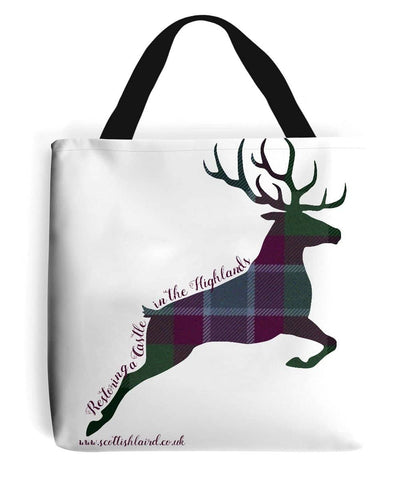 Tote Bag Stag in Dunans Rising Tartan - Scottish Laird
