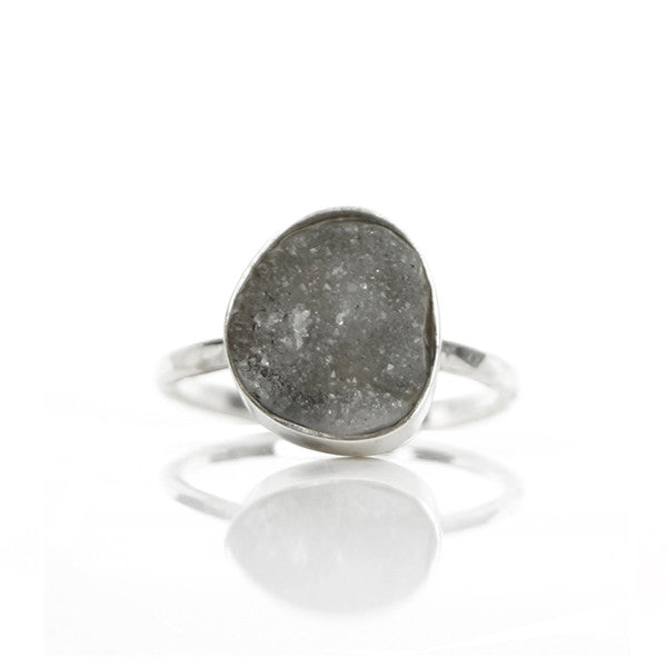 Ruwe Grijze Druzy Agaat Ring - ISH Jewels