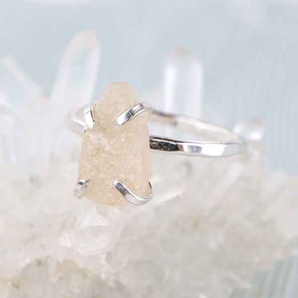 Ruwe Honey Druzy Agaat Ring