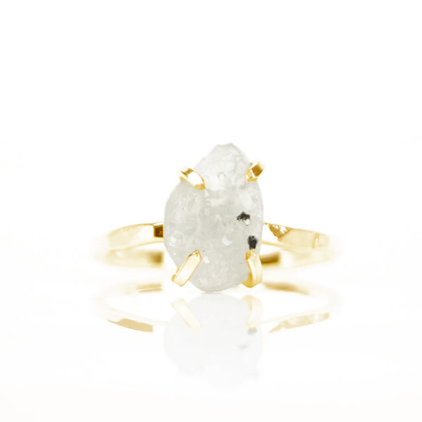 Ruwe Ivoor Druzy Agaat Ring 14kt Goud - ISH Jewels