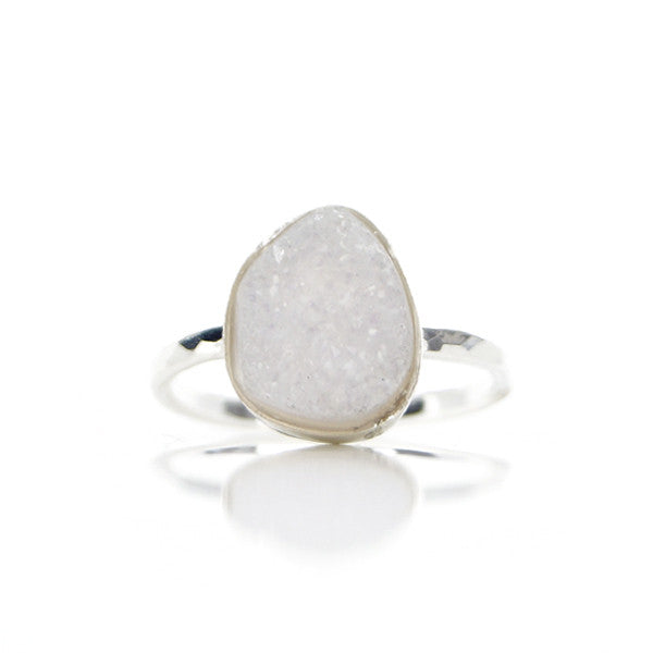 Ruwe Witte Druzy Agaat Ring - ISH Jewels