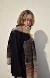 Eleven Everything chunky knit Merino Wool scarf  black and oatmeal