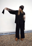 Eleven Everything Large chunky knit merino wool scarf black and Oatmeal