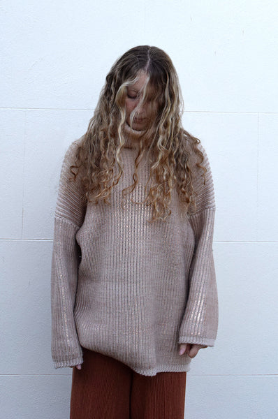 Eleven Everything organic merino wool  women's chunky rib knit jumper pink and rose gold