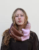 Eleven Everything women's chunky knit snood caramel and pink