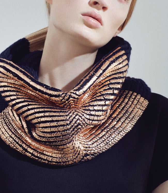 Metropolis snood - Navy & Rose Gold
