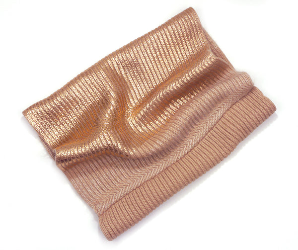Chunky Rib Knit Merino Wool Snood |  Light Tan with Rose Gold