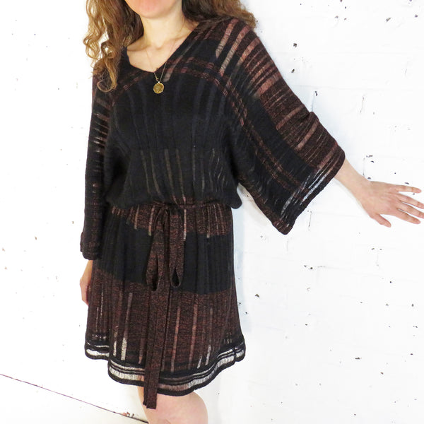 Yoko Kaftan Dress - Black & Copper