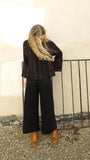 eleven everything women's knitted trouser lounge wear in black merino wool