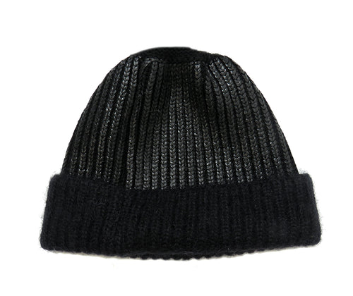 Eleven Everything Women's chunky rib beanie hat organic merino wool Black