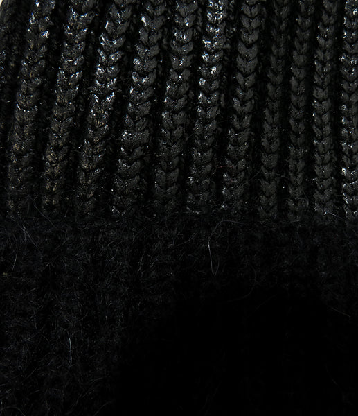 Eleven Everything close up chunky rib knit beanie hat merino wool black