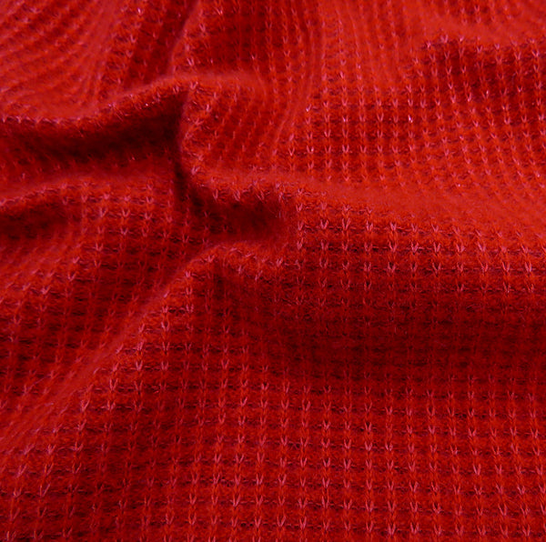 cashmere and silk red designer knitted scarf close up