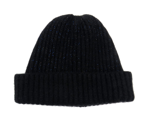 Chunky Ribbed Cashmere Beanie - Black