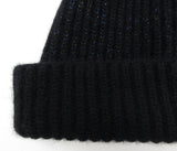 Cashmere rib beanie hat - turned up rib