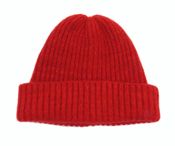 Cashmere ribbed beanie hat Red