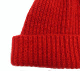 cashmere rib beanie hat turn up rib trim