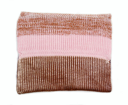 Chunky Rib Knit Merino Wool Scarf Loop | Navy and Rose Gold