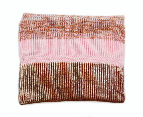 chunky rib knitted snood pink and rose gold