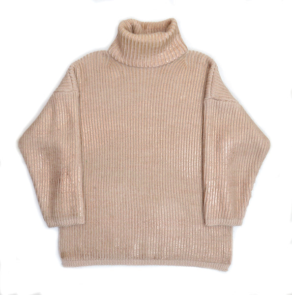 Eleven Everything Chunky rib knit organic merino wool roll neck jumper Rose Gold