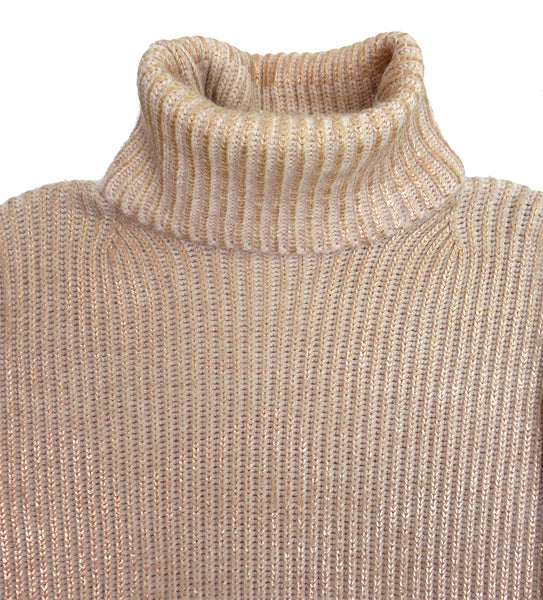 Eleven everything organic merino wool chunky knit women's roll neck jumper pink and rose gold