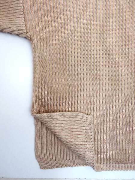 Eleven everything merino wool women's chunky knit roll neck jumper in pink and rose gold