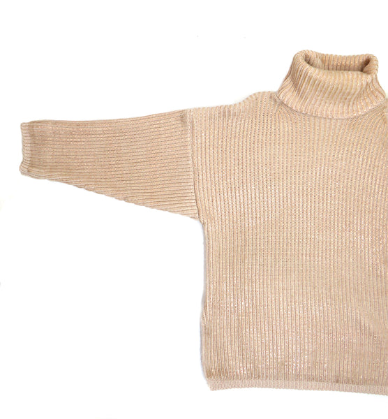 Eleven everything women's merino wool chunky ribbed roll neck jumper size small medium rose gold