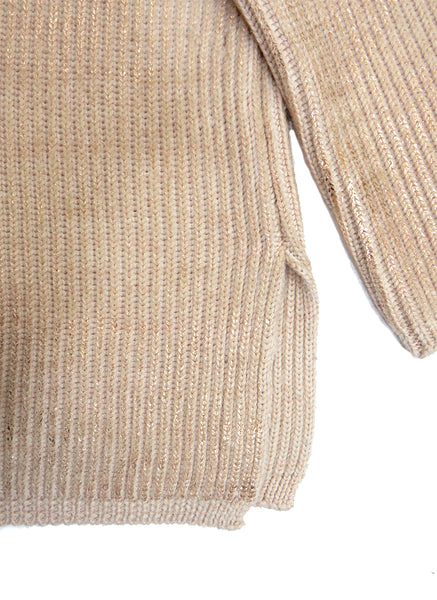 Eleven everything merino wool chunky rib knit jumper in rose gold