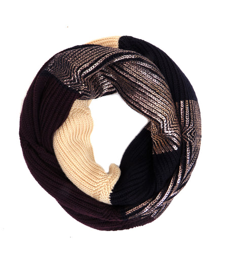 Chunky rib Merino Wool Marnie Scarf | Black and Oatmeal